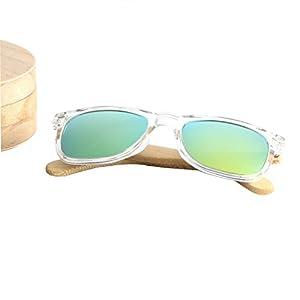 Ablibi Bamboo Polarized Shades with Clear Acetate Coating Lenses Sunglasses