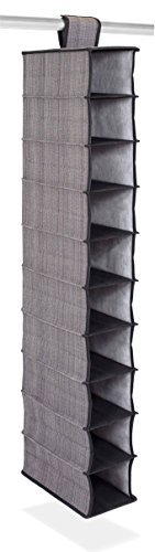 Internets Best 10 Tier Hanging Shoe Organizer   Narrow Shelf Closet Shoe Rack   Footwear Storage   Grey