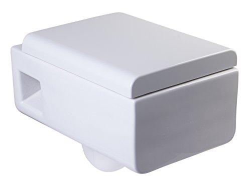EAGO WD333 Square Modern White Ceramic Wall Mounted Toilet