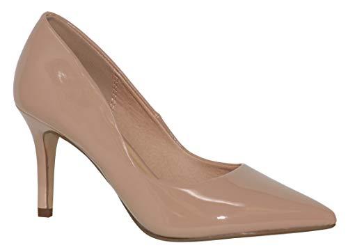MVE Shoes Women's Pointed Toe Low Kitten Heel Pumps - Dress Slip On Pumps Shoes - Stiletto Wedding Pumps, KAMBO BGE PAT 6.5