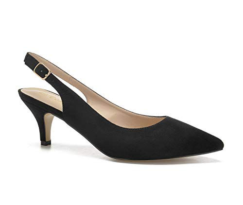 (ComeShun Womens Sexy Pointed Closed Toe Comfortable Black Faux Suede Slingback Pumps Size 9)