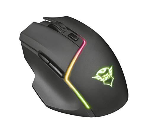 Trust GXT 161 Disan - Ratón inalámbrico gaming RGB con batería recargable y sofware avanzado, color negro