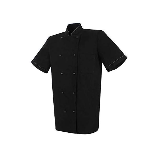 MISEMIYA Chaquetas Chef Bar Restaurante Cocinero Mangas Cortas Camisa de utilidades de Trabajo para Hombre 2
