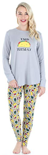 Frankie & Johnny Women's Sleepwear Knit Long-Sleeved Food Themed Tunic and Leggings Pajamas PJ Set, Tacos (FJSS1140-1099-SML)