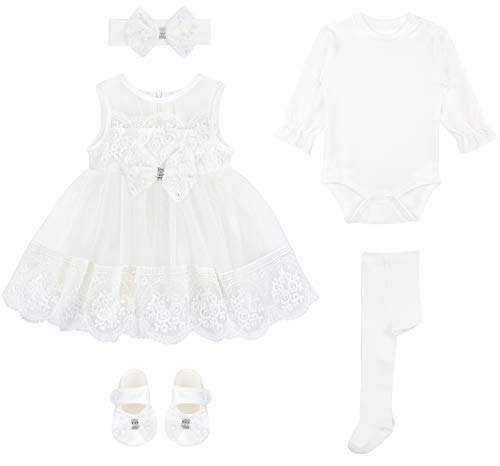 Baby Girl Newborn Lace Long Sleeve Princess Dress Gown 6 Piece Deluxe Set 0-3M