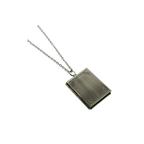 Ms.Iconic Vintage Style Antiqued Silver Big Rectangle Book Photo Locket Pendant Charm Necklace Long 27''