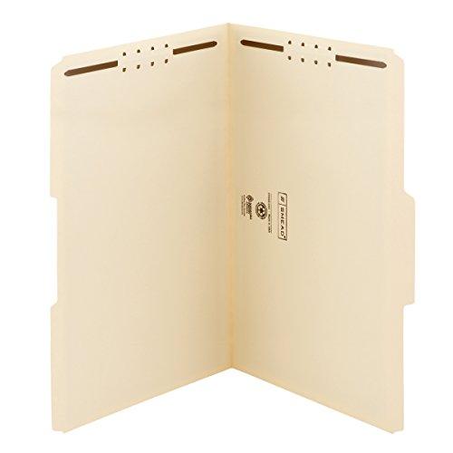 Smead Heavy-Duty Fastener File Folder, 2 Fasteners, 1/3-Cut Tab, Legal Size, Manila, 50 per Box (19600)