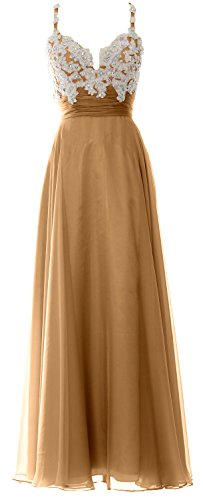 MACloth Women Straps Sweetheart Lace Chiffon Long Prom Dress Formal Evening Gown Gold