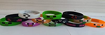 Mining Pixelated Glow in the Dark Bracelets Kids Birthday Party Favors (12 pack) from Unknown