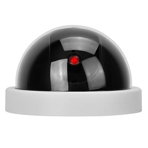 Dummy Camera, Home Security Dome Simulated Video Camera Indoor Outdoor Surveillance Camera with Red LED Light