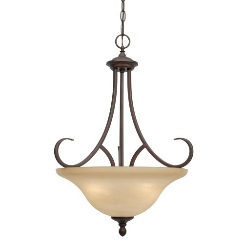 Golden Bronze Bowl Pendant - Golden Lighting 6005-3P RBZ Lancaster Pendant Bowl, Rubbed Bronze Finish