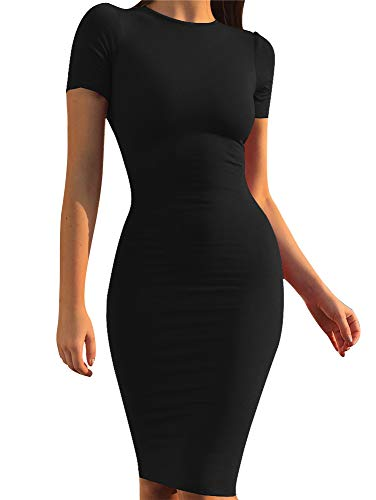 (GOBLES Women's Short Sleeve Casual Bodycon Midi Elegant Cocktail Party Dress)