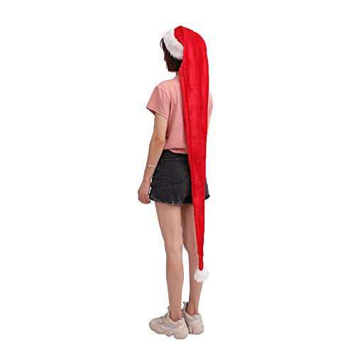 NEEKEY Adult 1.5 Meters Long Christmas Hat Plush Xmas Prop Gifts Holiday Cap (Free Size,Red)