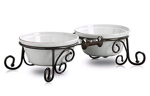 Porcelain Dog Bowl - BestVida Sparks Pet Stand (Small, White)