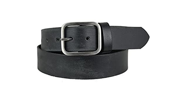 Mens High-Quality Black Leather Belt with Dark Silver Buckle 1110