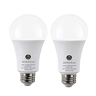 Dusk to Dawn Light Bulb JackonLux Outdoor Smart Light Bulb A19 8W 800 LM UL Listed 3000K Automatic On/Off Sensor Bulb for Yard Porch Patio Garage Garden (Soft White, 2 Pack)