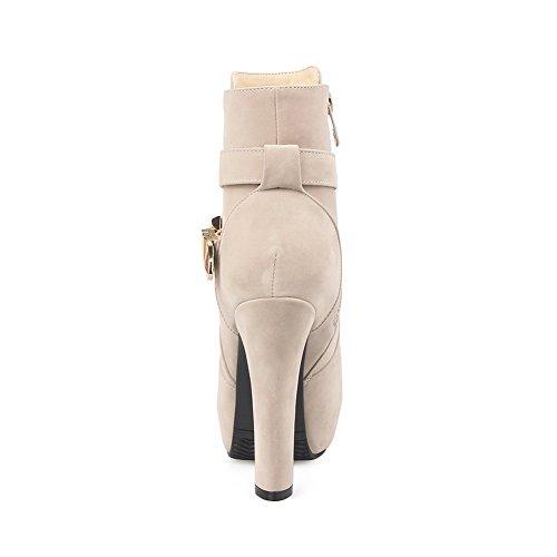 AdeeSu Apricot Brautimitierte Lederstiefel Heels Chunky Damen Plattform 7Zw78fq