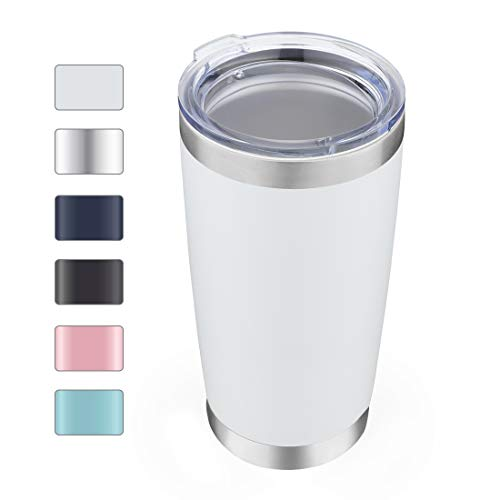 DOMICARE 20oz Stainless Steel Tumbler with Lid, Double Wall Vacuum Insulated Travel Mug, Durable Powder Coated Insulated Coffee Cup, 1 Pack, White