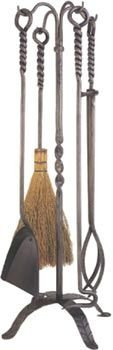 5 Piece Natural Wrought Iron Tool Set with Rope Handles 30 1/2'' (5 Piece Natural Wrought Iron)