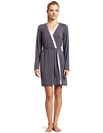 Calvin Klein Womens Essentials With Satin Short Robe, Charcoal, X-Small/Small