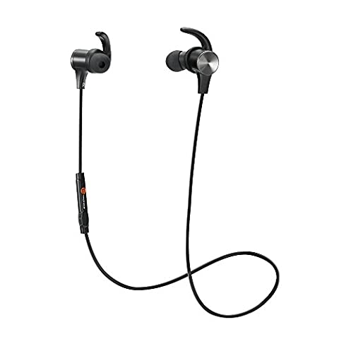 Bluetooth Headphones, TaoTronics Wireless 4.1 Magnetic Earbuds aptX Stereo Earphones, IPX5 Splash Proof Secure Fit for Sports with Built in Mic (Taotronics Bluetooth Headphones)