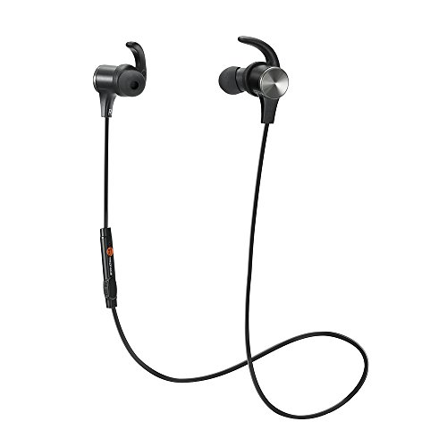 TaoTronics Bluetooth Headphones, Wireless 4.1 Magnetic Earbuds aptX Stereo Earphones, IPX5 Splash Proof Secure Fit for Sports with Built-in Mic [Upgraded Version] (Bluetooth Headphone Mic)