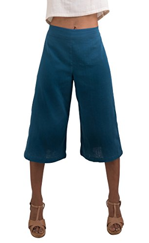 Women's Organic Cotton Capri Pants, Blue Gauchos by Tropic Bliss,Blue,Large ()