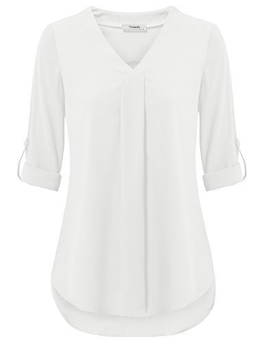 (Youtalia Womens 3/4 Cuffed Sleeve Chiffon Printed V Neck Casual Blouse Shirt Tops (Medium, White))