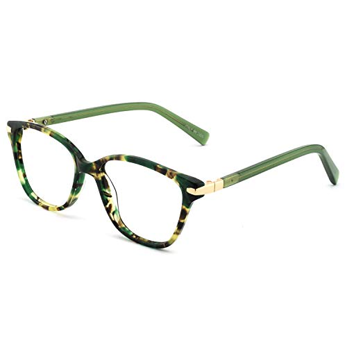 Designer Prescription Eyeglasses - OCCI CHIARI Womens Rectangle Stylish Eyewear Frame Non-Prescription Clear Eyeglasses (C-Green Demi(Anti-Blue Light))