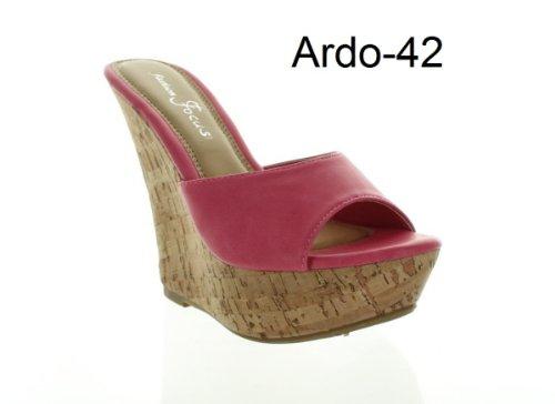 Fashion Focus Womens Ardo-42 Fashion Wedge Sandals,Fuschia,8