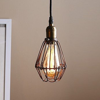 """Vintage Minimalist Pendant Light, MKLOT Ecopower Retro Industrial 3.94"""" Wide Bird Cage Style Hanging Pendant Lighting Fixture Metal Shade Iron Wire Cage Ceiling Lamp Guard, 1 Pack"""