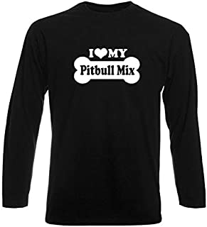 T-Shirt Manica Lunga Uomo Nera FUN2039 i Love My Pitbull Mix