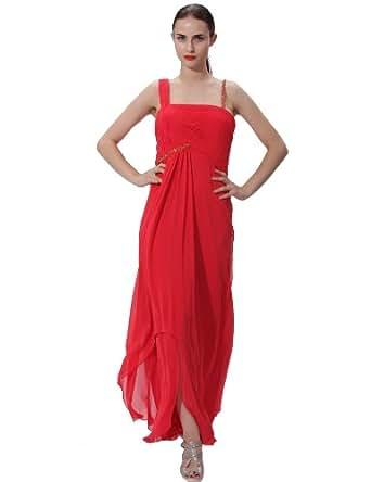 Stylejoy Womens Empire Waist Long Floor Length Red
