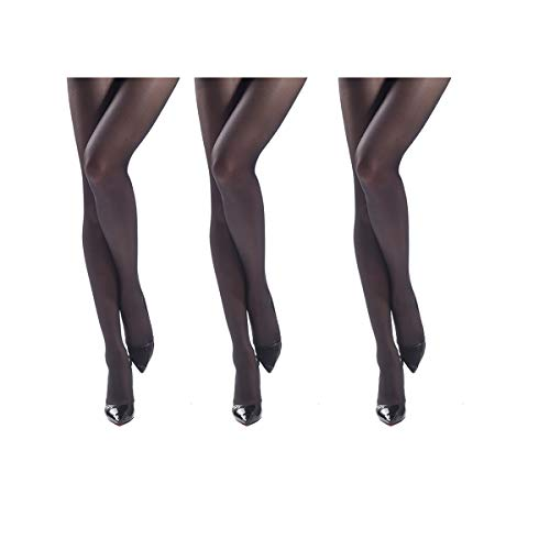 JIAYI Women's Sheer To Waist Sexy Silk Pantyhose Tights From S To XXXXL(Black 3 Pairs+1 as gift)