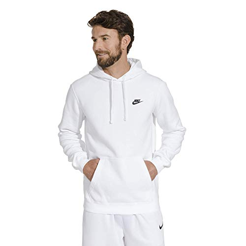 - Men's Nike Sportswear Club Pullover Hoodie, Fleece Sweatshirt for Men with Paneled Hood, White/White/Black, 2XL