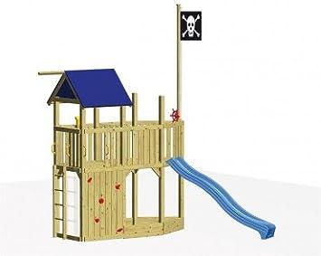 Xxl Klettergerüst 2 4m Kletterturm Spielturm Mit Kletternetz Reckstange Leiter : Winnetoo spielturm set stelzenhaus mit piratenschiff amazon