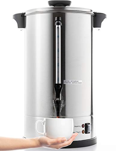 SYBO RCM016S-16B Commercial Grade Stainless Steel Percolate Coffee Maker Hot Water Urn 100-Cup Capacity for Catering, 16 Liter, Metallic