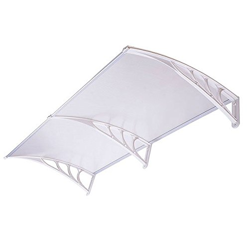 Outdoor Window Door Patio Sun Shade Awning (6.5ft, Clear/White)