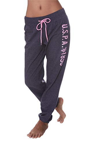 U.S. Polo Assn. Womens Logo French Terry Jogger Lounge Sleep Pajamas Sweat Pants Blue Nights Heather Medium