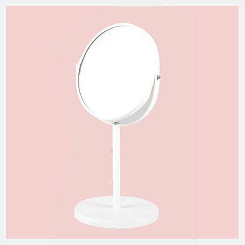 HaloVa Double-sided Mirror, Adjustable Portable Desktop Makeup Mirror, Lightweight Slim Cosmetic Mirror, 1x/3x magnification, 360°Rotation, White