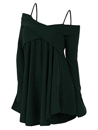 KCatsy Crisscross Open Shoulder Tunic Sweater Dark Forest Green