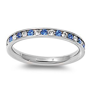 Stainless Steel Eternity Blue and Clear Cz Wedding Band Ring 3mm (3,4,5,6,7,8,9,10) Comes Box (7)