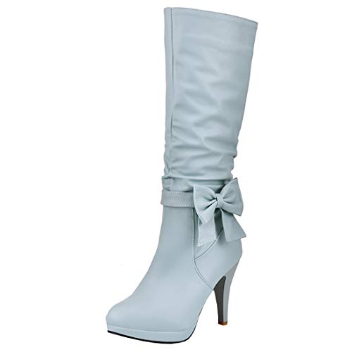 Shoes Artfaerie Boots Winter Boots Women's Zip High Elegant Heel with Mid Blue Calf Warm Long Bows 6xgr6OPX