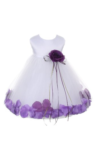 Satin Bodice Flower Baby Girl Pageant Petal Dress: White/Purple - Infant XL