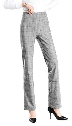 Foucome Dress Pants for Women-Slim or Bootcut Stretch High Waist Trousers with All Day Comfort Pull On Style Plaid