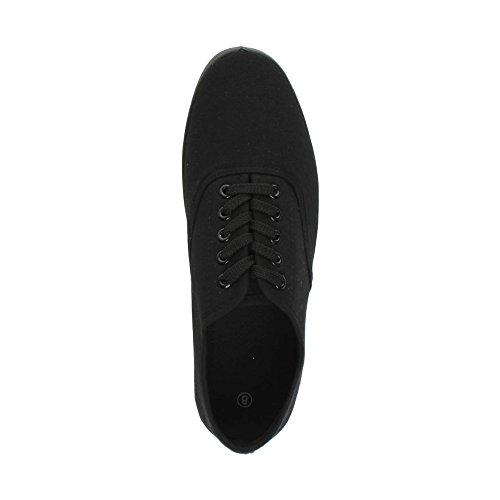 Herren Sneaker Sports Größe Flache Stoffschuhe Plimsolls Schwarz Canvas Schnürschuhe z7fznrqU