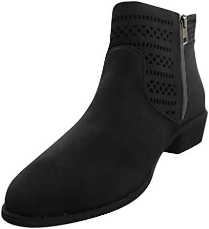 ジッパーの靴の足首のブーツのレディース快適な丸いつま先の厚いかかとの空のスリップ