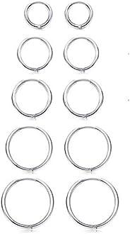 Besteel 5 Pairs Stainless Steel Small Hoop Earrings Set for Men Women Hypoallergenic Endless Huggie Cartilage