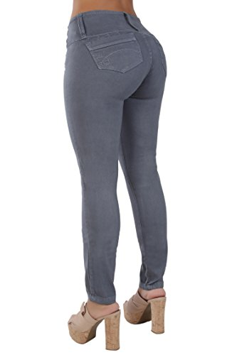 Curvify High Waisted Butt Lifting Slimming Jeans for Women - Skinny Stretch Jean 766(766, Gray, 13)
