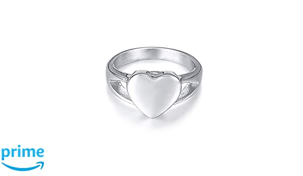 MEMORIALU Stainless Steel Heart Shape Urn Ring for Ashes Cremation Memorial Jewelry